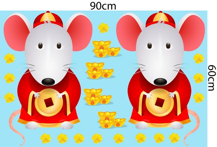decal trang trí tết chuột thần tài