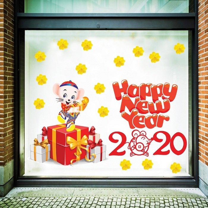 decal trang trí tết chuột vui mừng năm mới