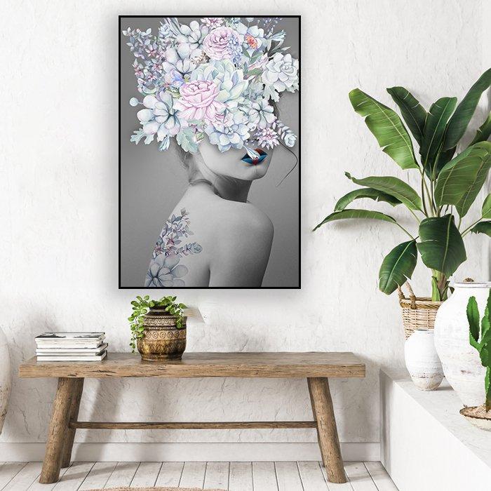 Tranh treo tường cô gái và hoa ngũ sắc