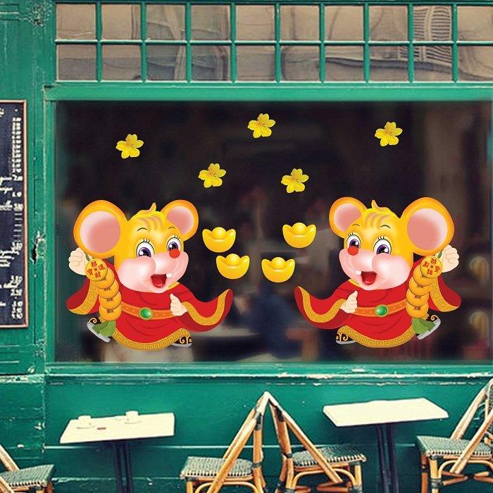Decal trang trí tết chuột phát tài vàng