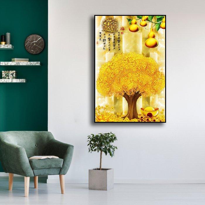 Tranh treo tường cây đồng tiền và hồ lô vàng