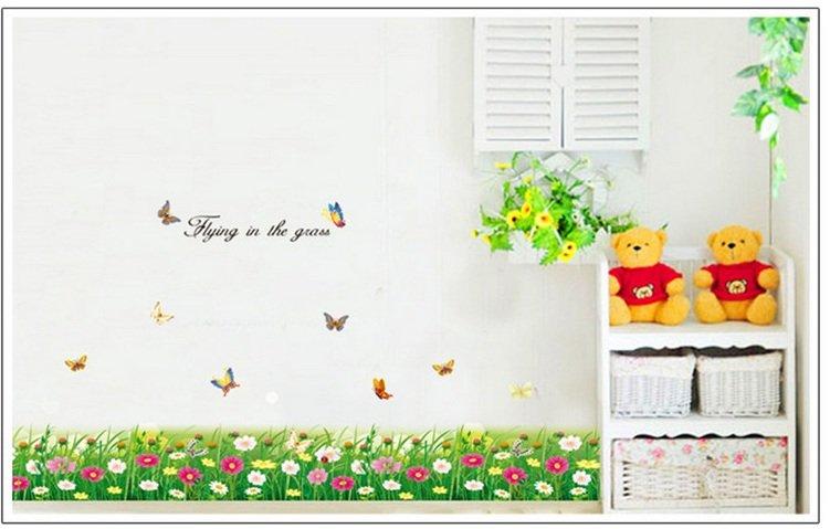 Decal dán chân tường bướm và hoa 2
