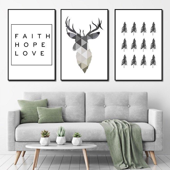 Tranh treo tường hươu love hope and faith