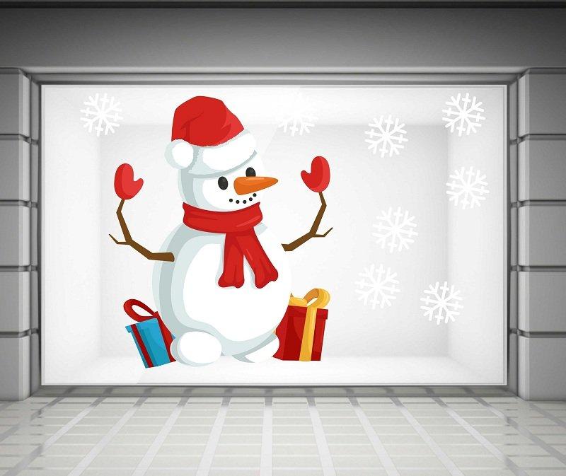decal trang trí noel người tuyết và hộp quà