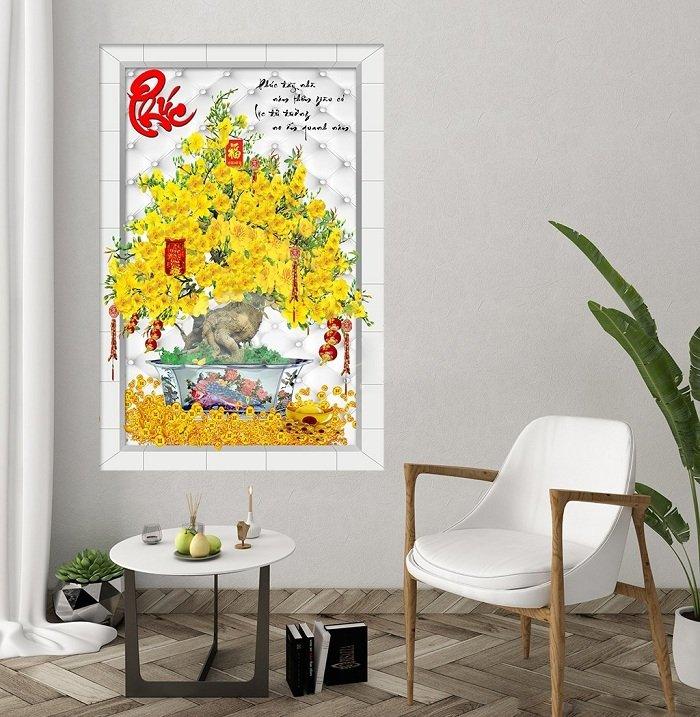Tranh treo tường cây mai vàng tài lộc và chữ phúc đỏ