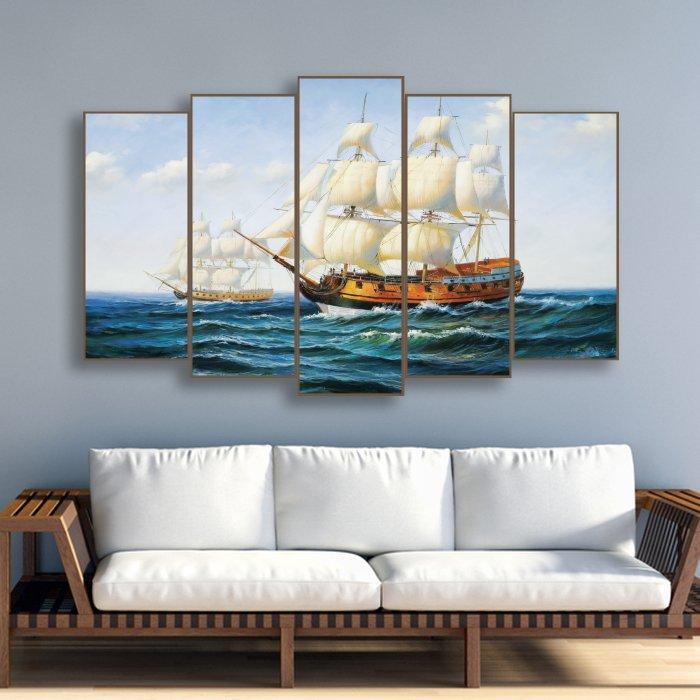 Tranh treo tường đôi thuyền ra khơi