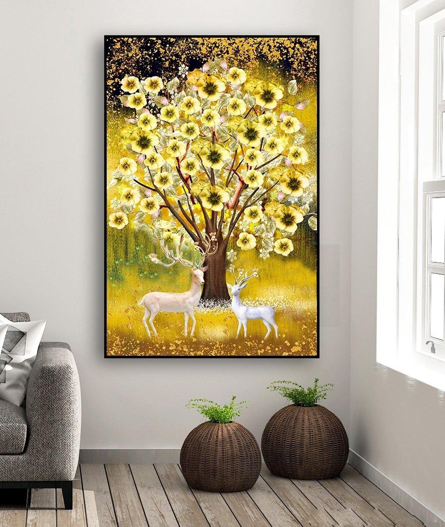 Tranh treo tường hoa sứ vàng tài lộc và đôi hươu phong thủy