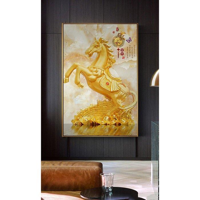 tranh treo tường ngựa vàng giàu sang