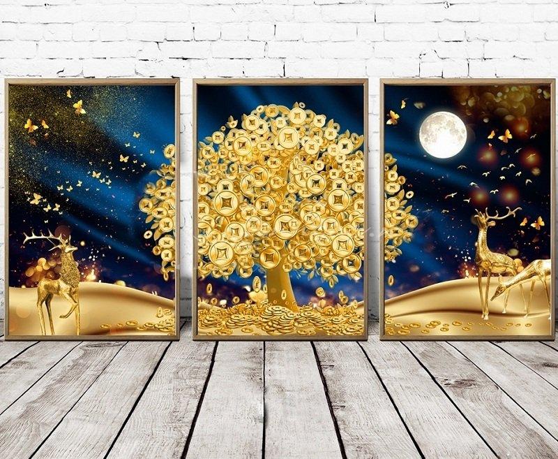 Tranh treo tường cây đồng tiền vàng và đàn hươu vàng