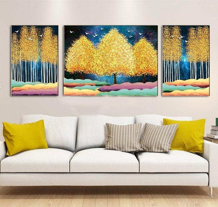 Tranh treo tường rừng vàng giữa trời đêm