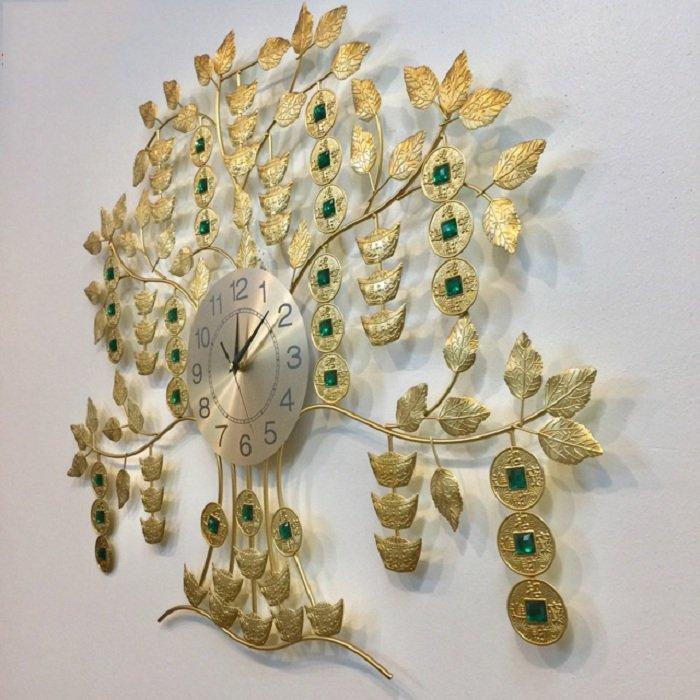 Đồng hồ treo tường đính đá cây đồng tiền vàng