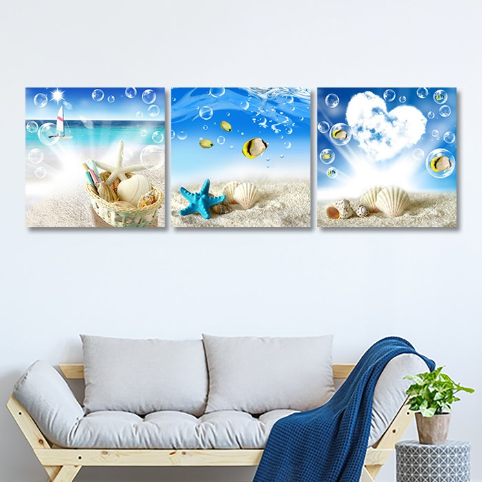 Tranh treo tường phong cảnh bãi biển và vỏ sò
