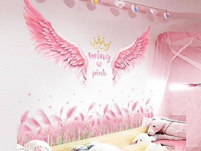 Combo decal dán chân tường cỏ hồng và đôi cánh hồng