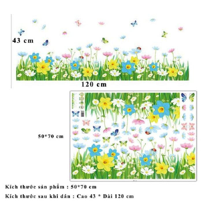 Decal dán chân tường bướm và hoa 3