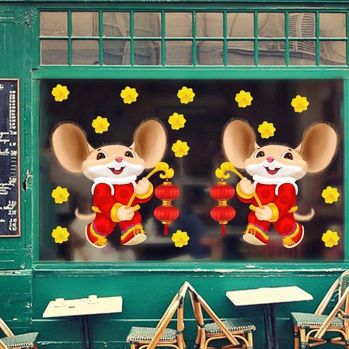 decal trang trí tết chuột cầm lồng đèn và mai vàng
