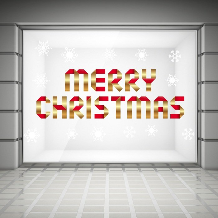 Decal trang trí noel merry christmas và bông tuyết