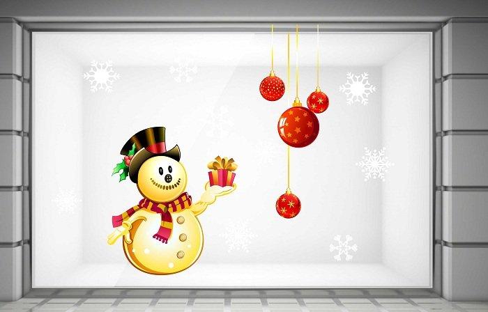 decal trang trí noel người tuyết và hộp quà 2
