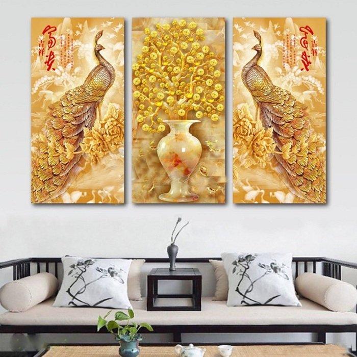 Tranh treo tường công vàng và cây đồng tiền