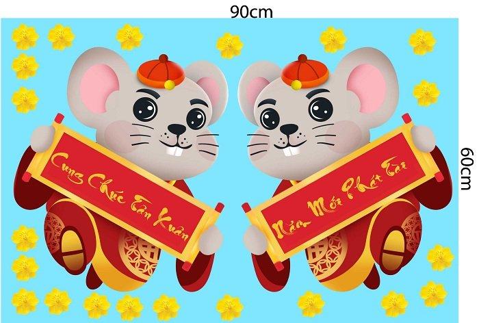 Decal trang trí tết chuột cung chúc tân xuân và năm mới phát tài