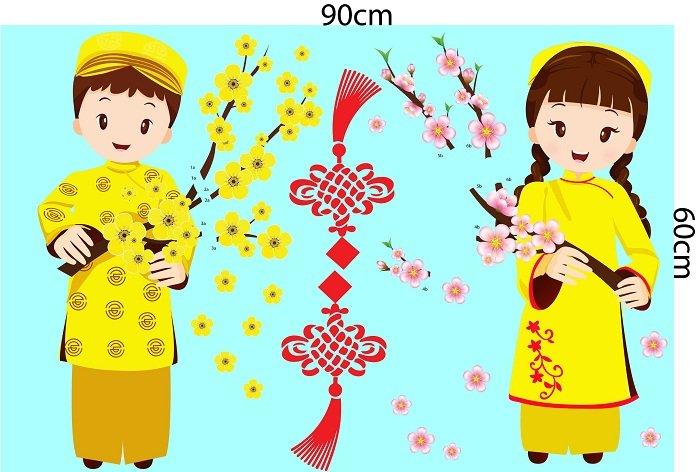 Decal trang tri tết bé cầm hoa chúc tết