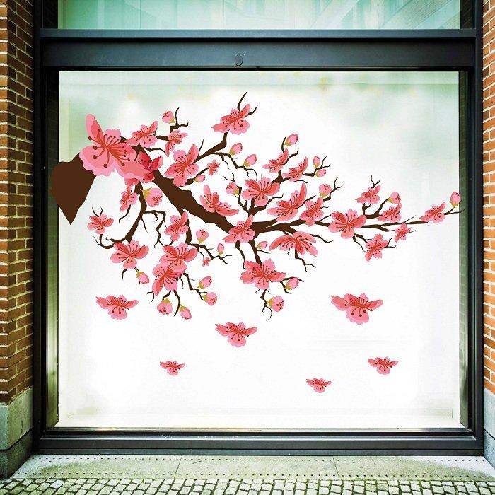 Decal trang trí tết cành đào hồng