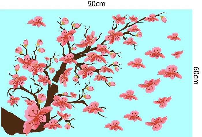 Decal trang trí tết cành đào hồng 2