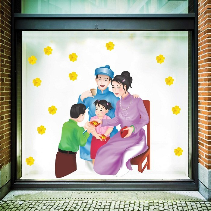 Decal trang trí tết gia đình vui vẻ