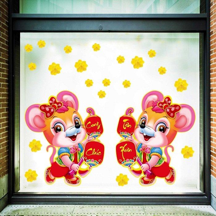 Decal trang trí tết chuột hồng cung chúc tân xuân
