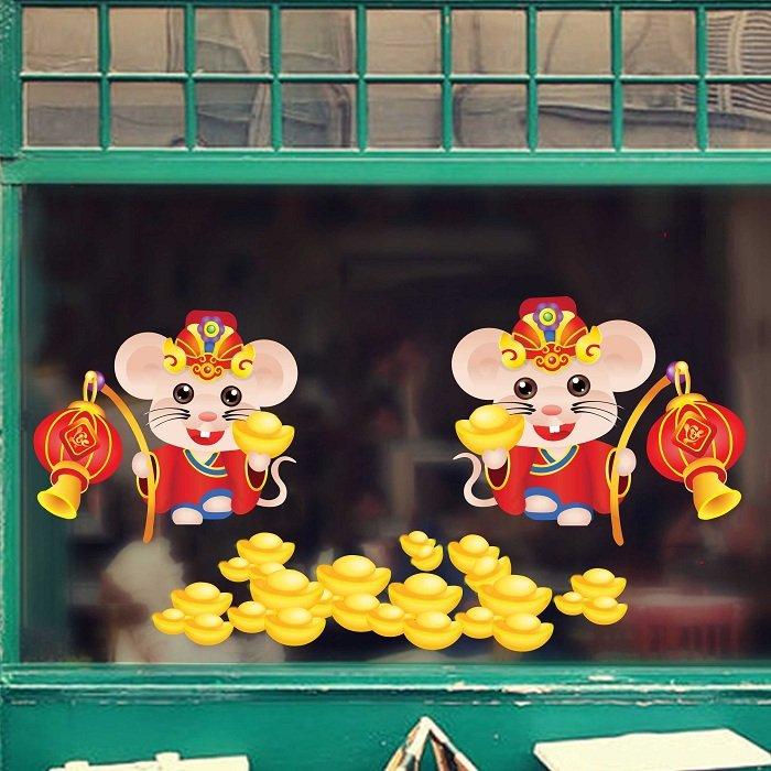 decal trang trí tết Chuột vàng phát lộc