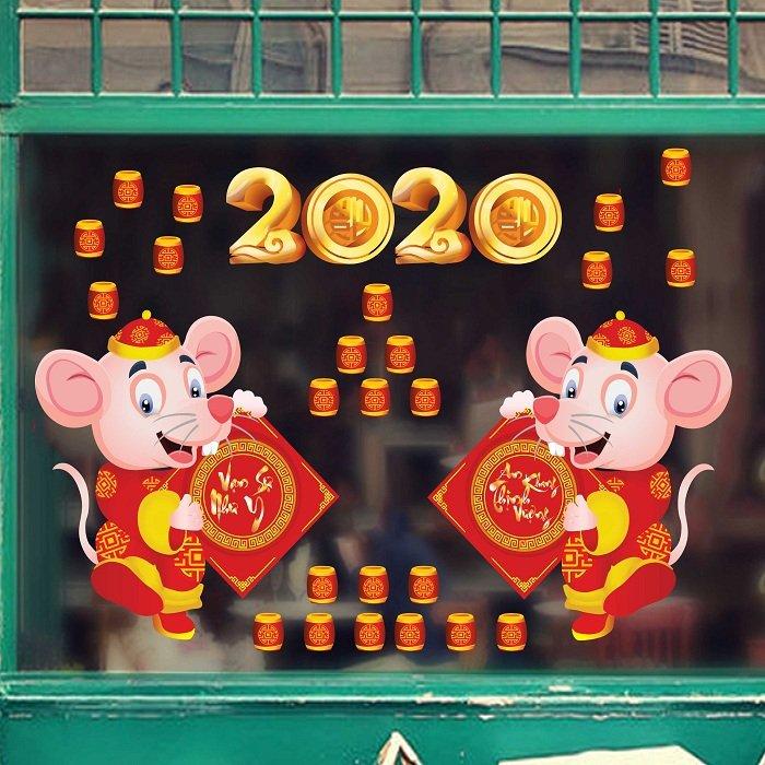 Decal trang trí tết chuột chúc mừng 2020  an khang thịnh vượng vạn sự như ý