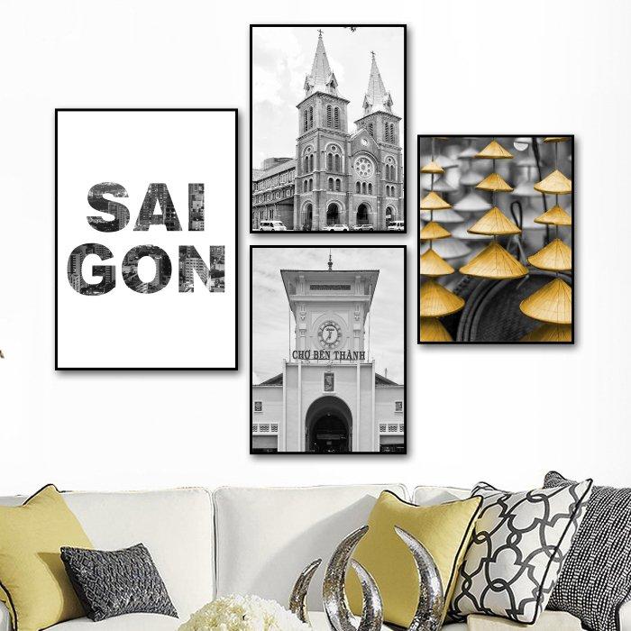 tranh treo tường Sài Gòn Trắng và đen
