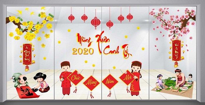 Combo decal trang trí tết chúc mừng năm mới 2020 và vạn sự như ý