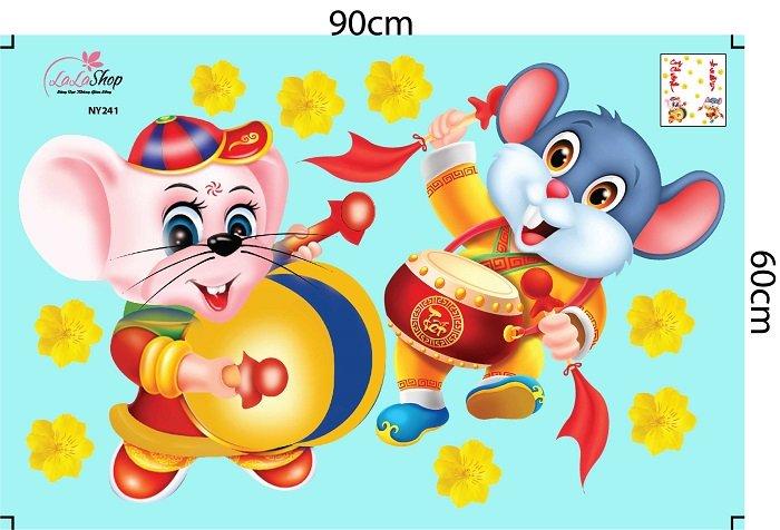 Decal trang trí tết chuột đánh trống cung chúc tân xuân và vạn sự như ý