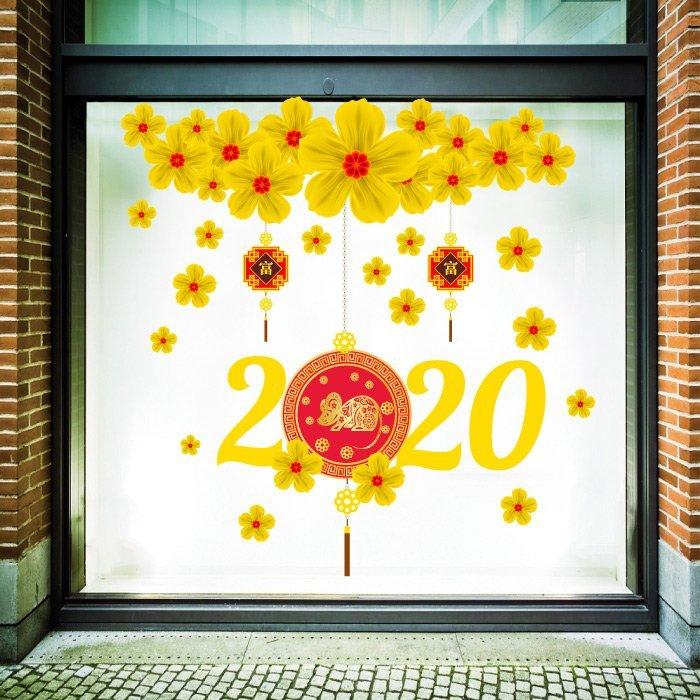Decal Trang Trí Tết Mai Vàng Tài Lộc 2020 Size To