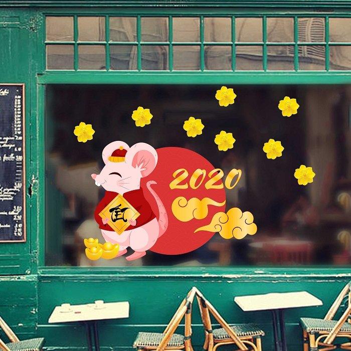 Decal trang trí tết chuột tết 2020