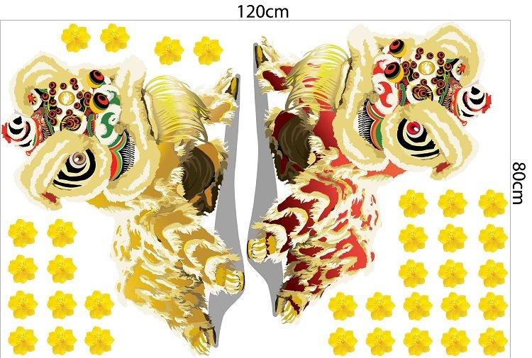 Decal trang trí tết lân vàng đón xuân