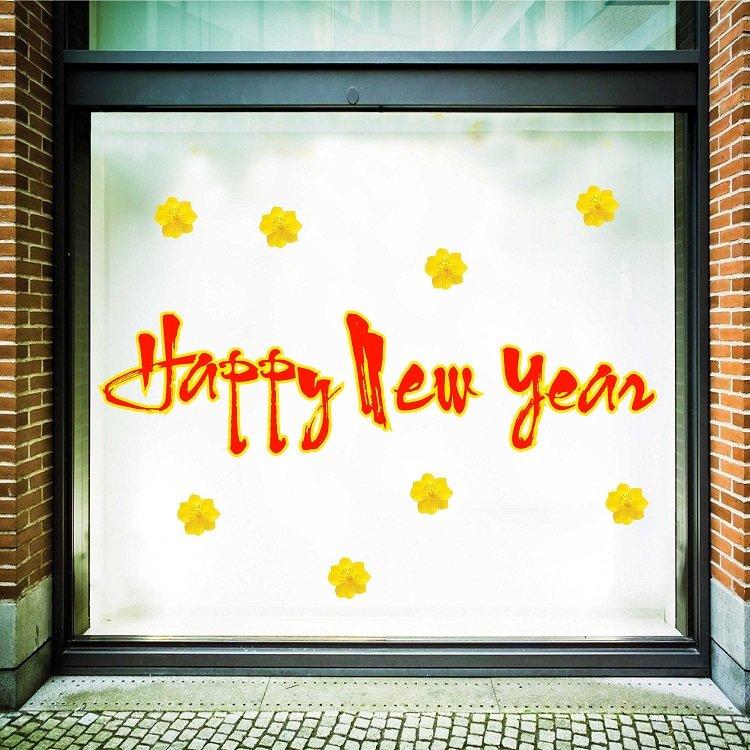 Decal trang trí tết happy new year