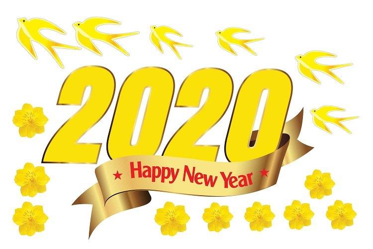 Decal trang trí tết happy new year 2020 2