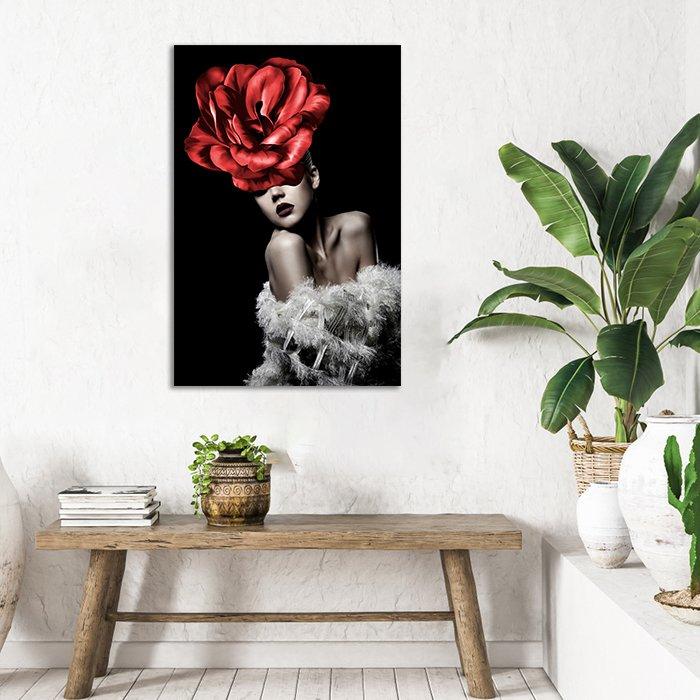 Tranh treo tường hoa đỏ và thiếu nữ