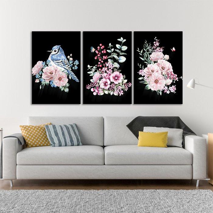 tranh treo tường hoa và chim xanh