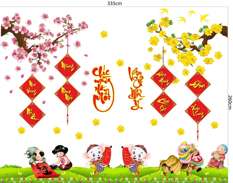 Combo Decal Trang Trí Tết chuột mừng năm mới