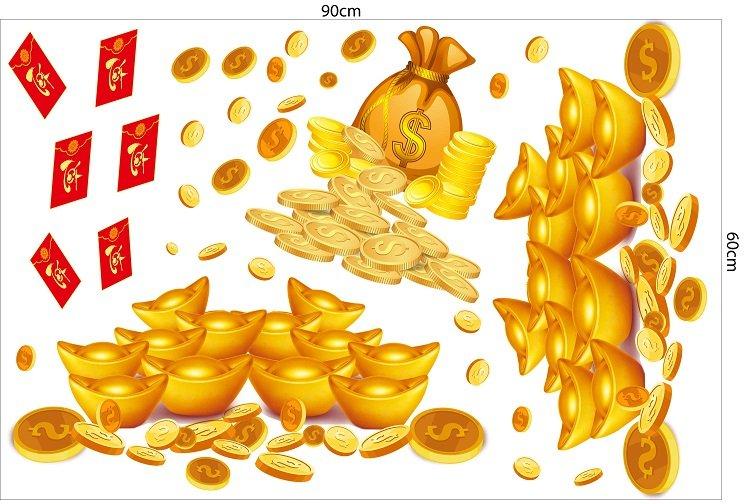 decal dán chân tường tiền vàng 3