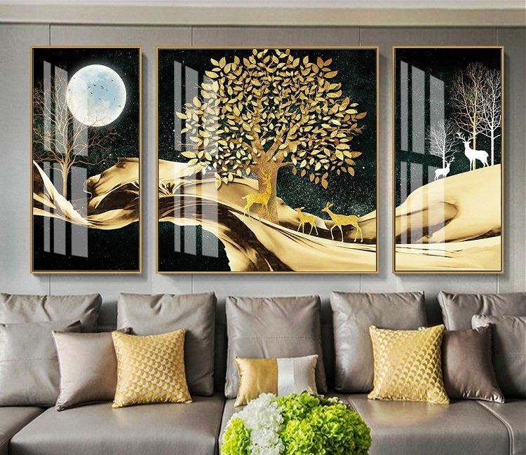Tranh treo tường nai vàng dưới trăng đêm