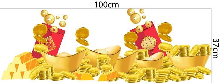 decal dán chân tường tiền vàng
