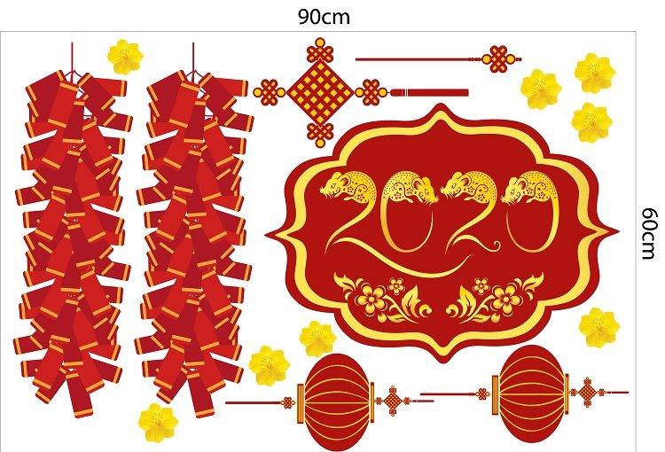Decal trang trí tết pháo đỏ mừng xuân
