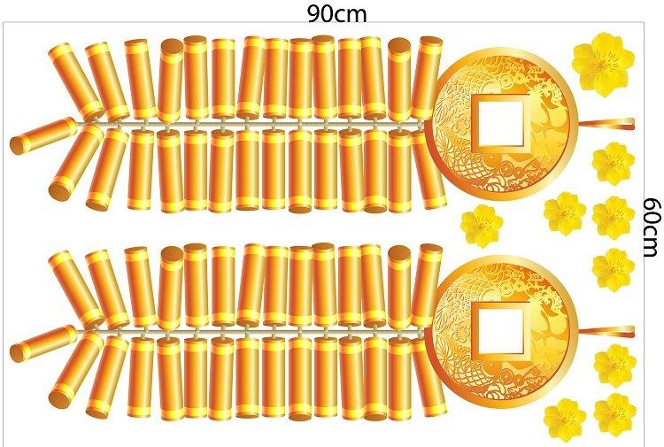 decal trang trí tết pháo vàng tiền vàng