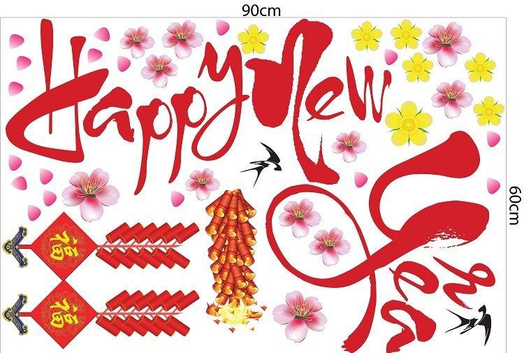 Decal trang trí tết happy new year và pháo đỏ