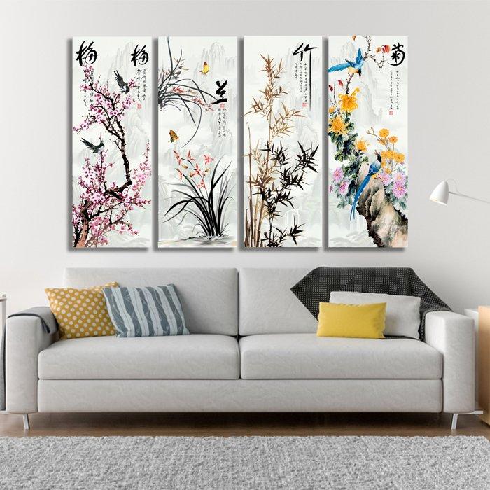 Tranh treo tường hoa lá sơn thủy