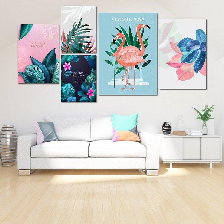 Tranh treo tường hồng hạc và lá nhiệt đới