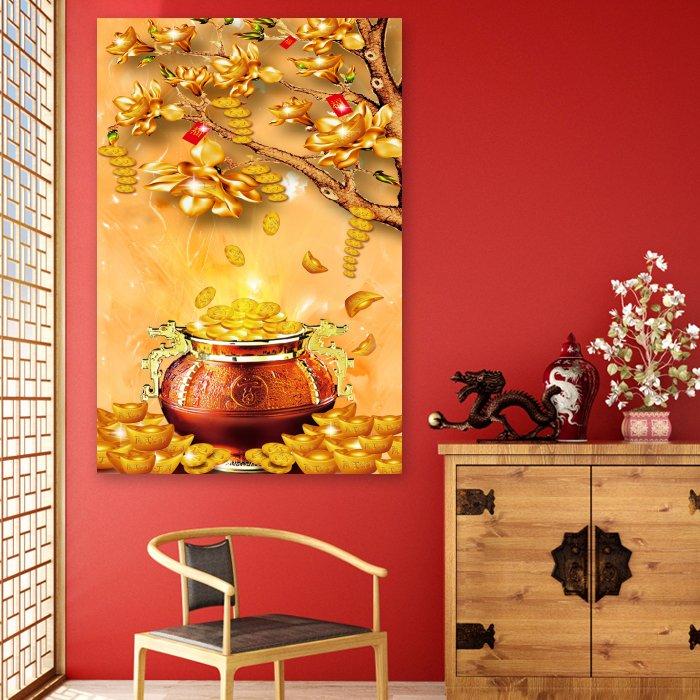 Tranh treo tường cây phát tài vàng